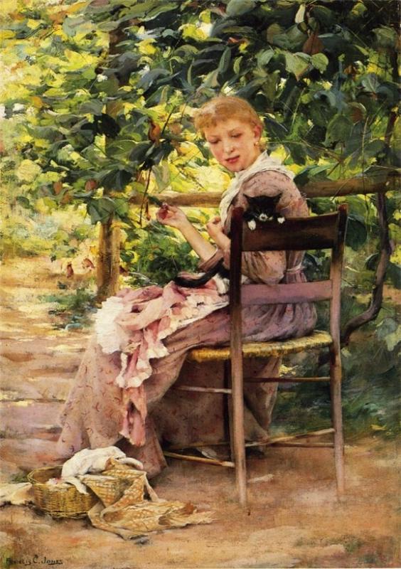 Нажмите на изображение для увеличения Название: Francis Coates Jones Sewing in the Garden.jpg Просмотров: 70 Размер:93,9 Кб ID:57296